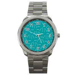 Digital Art Minimalism Abstract Candles Blue Background Fire Sport Metal Watch by Simbadda