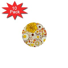 Cute Fall Flower Rose Leaf Star Sunflower Orange 1  Mini Buttons (10 Pack)  by Alisyart