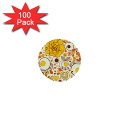 Cute Fall Flower Rose Leaf Star Sunflower Orange 1  Mini Buttons (100 Pack)  by Alisyart