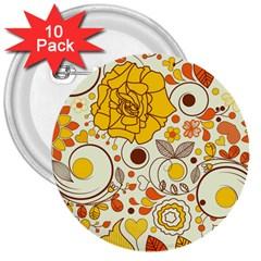 Cute Fall Flower Rose Leaf Star Sunflower Orange 3  Buttons (10 Pack)  by Alisyart