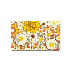 Cute Fall Flower Rose Leaf Star Sunflower Orange Magnet (name Card) by Alisyart