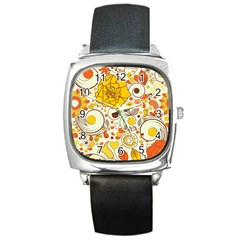 Cute Fall Flower Rose Leaf Star Sunflower Orange Square Metal Watch by Alisyart