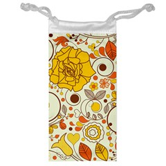 Cute Fall Flower Rose Leaf Star Sunflower Orange Jewelry Bag by Alisyart