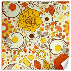 Cute Fall Flower Rose Leaf Star Sunflower Orange Canvas 16  X 16   by Alisyart