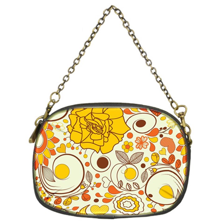 Cute Fall Flower Rose Leaf Star Sunflower Orange Chain Purses (Two Sides)