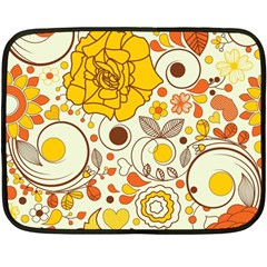 Cute Fall Flower Rose Leaf Star Sunflower Orange Fleece Blanket (mini) by Alisyart