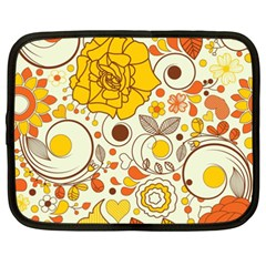 Cute Fall Flower Rose Leaf Star Sunflower Orange Netbook Case (xxl)  by Alisyart