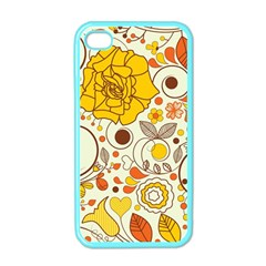 Cute Fall Flower Rose Leaf Star Sunflower Orange Apple Iphone 4 Case (color) by Alisyart