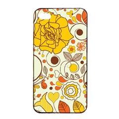 Cute Fall Flower Rose Leaf Star Sunflower Orange Apple Iphone 4/4s Seamless Case (black) by Alisyart