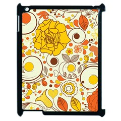 Cute Fall Flower Rose Leaf Star Sunflower Orange Apple Ipad 2 Case (black) by Alisyart