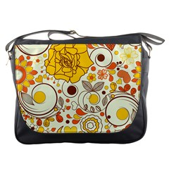 Cute Fall Flower Rose Leaf Star Sunflower Orange Messenger Bags by Alisyart