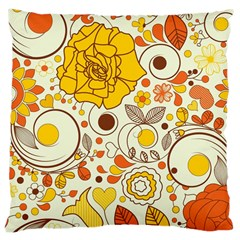 Cute Fall Flower Rose Leaf Star Sunflower Orange Large Cushion Case (two Sides) by Alisyart