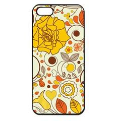 Cute Fall Flower Rose Leaf Star Sunflower Orange Apple Iphone 5 Seamless Case (black) by Alisyart