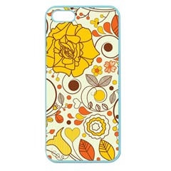 Cute Fall Flower Rose Leaf Star Sunflower Orange Apple Seamless Iphone 5 Case (color) by Alisyart