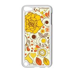 Cute Fall Flower Rose Leaf Star Sunflower Orange Apple Ipod Touch 5 Case (white) by Alisyart