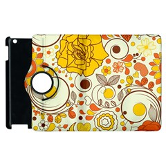 Cute Fall Flower Rose Leaf Star Sunflower Orange Apple Ipad 3/4 Flip 360 Case by Alisyart
