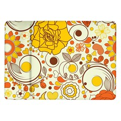 Cute Fall Flower Rose Leaf Star Sunflower Orange Samsung Galaxy Tab 10 1  P7500 Flip Case by Alisyart