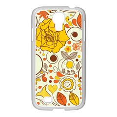 Cute Fall Flower Rose Leaf Star Sunflower Orange Samsung Galaxy S4 I9500/ I9505 Case (white) by Alisyart