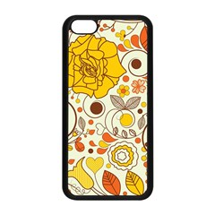 Cute Fall Flower Rose Leaf Star Sunflower Orange Apple Iphone 5c Seamless Case (black) by Alisyart