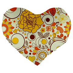 Cute Fall Flower Rose Leaf Star Sunflower Orange Large 19  Premium Flano Heart Shape Cushions by Alisyart
