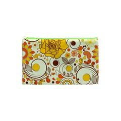 Cute Fall Flower Rose Leaf Star Sunflower Orange Cosmetic Bag (xs) by Alisyart