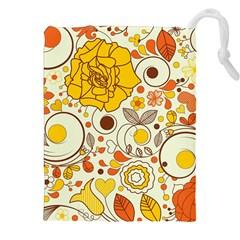 Cute Fall Flower Rose Leaf Star Sunflower Orange Drawstring Pouches (xxl) by Alisyart