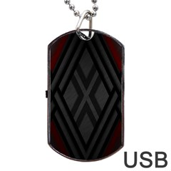 Abstract Dark Simple Red Dog Tag Usb Flash (two Sides) by Simbadda