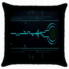 Blue Aqua Digital Art Circuitry Gray Black Artwork Abstract Geometry Throw Pillow Case (black) by Simbadda