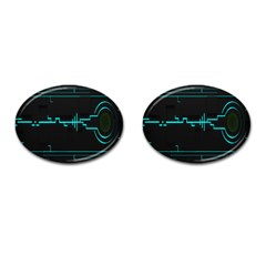Blue Aqua Digital Art Circuitry Gray Black Artwork Abstract Geometry Cufflinks (oval) by Simbadda