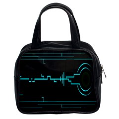 Blue Aqua Digital Art Circuitry Gray Black Artwork Abstract Geometry Classic Handbags (2 Sides) by Simbadda