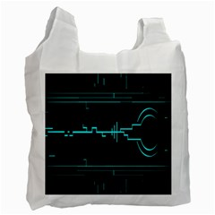 Blue Aqua Digital Art Circuitry Gray Black Artwork Abstract Geometry Recycle Bag (one Side) by Simbadda