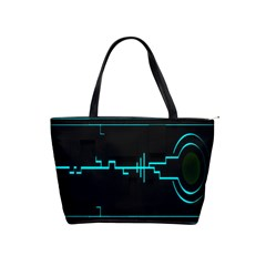 Blue Aqua Digital Art Circuitry Gray Black Artwork Abstract Geometry Shoulder Handbags by Simbadda