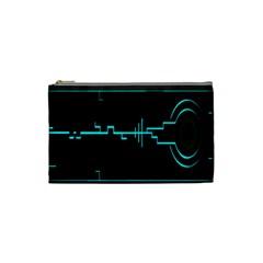 Blue Aqua Digital Art Circuitry Gray Black Artwork Abstract Geometry Cosmetic Bag (small)  by Simbadda