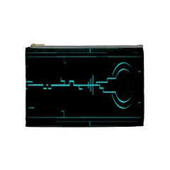Blue Aqua Digital Art Circuitry Gray Black Artwork Abstract Geometry Cosmetic Bag (medium)  by Simbadda