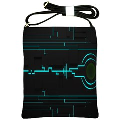 Blue Aqua Digital Art Circuitry Gray Black Artwork Abstract Geometry Shoulder Sling Bags by Simbadda