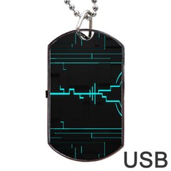 Blue Aqua Digital Art Circuitry Gray Black Artwork Abstract Geometry Dog Tag Usb Flash (two Sides) by Simbadda
