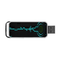 Blue Aqua Digital Art Circuitry Gray Black Artwork Abstract Geometry Portable Usb Flash (two Sides) by Simbadda