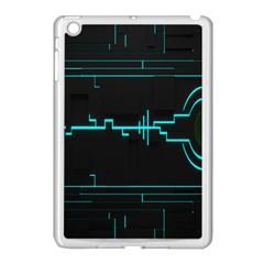Blue Aqua Digital Art Circuitry Gray Black Artwork Abstract Geometry Apple Ipad Mini Case (white) by Simbadda