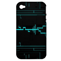 Blue Aqua Digital Art Circuitry Gray Black Artwork Abstract Geometry Apple Iphone 4/4s Hardshell Case (pc+silicone) by Simbadda