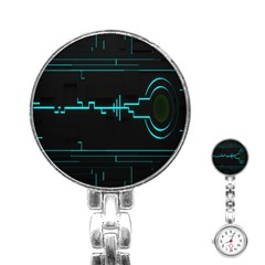 Blue Aqua Digital Art Circuitry Gray Black Artwork Abstract Geometry Stainless Steel Nurses Watch by Simbadda