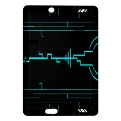 Blue Aqua Digital Art Circuitry Gray Black Artwork Abstract Geometry Amazon Kindle Fire Hd (2013) Hardshell Case by Simbadda