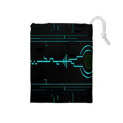 Blue Aqua Digital Art Circuitry Gray Black Artwork Abstract Geometry Drawstring Pouches (medium)  by Simbadda