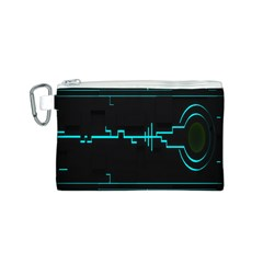 Blue Aqua Digital Art Circuitry Gray Black Artwork Abstract Geometry Canvas Cosmetic Bag (s) by Simbadda