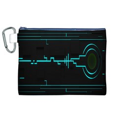 Blue Aqua Digital Art Circuitry Gray Black Artwork Abstract Geometry Canvas Cosmetic Bag (xl) by Simbadda