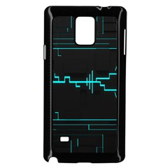 Blue Aqua Digital Art Circuitry Gray Black Artwork Abstract Geometry Samsung Galaxy Note 4 Case (black) by Simbadda