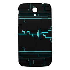 Blue Aqua Digital Art Circuitry Gray Black Artwork Abstract Geometry Samsung Galaxy Mega I9200 Hardshell Back Case by Simbadda
