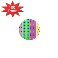 Eye Coconut Palms Lips Pineapple Pink Green Red Yellow 1  Mini Magnets (100 Pack)  by Alisyart
