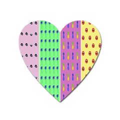 Eye Coconut Palms Lips Pineapple Pink Green Red Yellow Heart Magnet by Alisyart