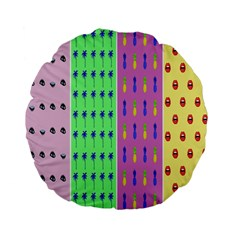 Eye Coconut Palms Lips Pineapple Pink Green Red Yellow Standard 15  Premium Flano Round Cushions by Alisyart