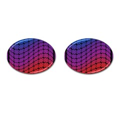 Colorful Red & Blue Gradient Background Cufflinks (oval) by Simbadda